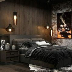 Dark Homes, black interior design decoration with light as the axis. - Page 32 of 54 - Life Tillage Luxury Bedroom Design, Bedroom Bed Design, Home Room Design, Modern Bedroom, Bedroom Decor, Industrial Bedroom Design, Loft Interior, Black Interior Design, Design Loft