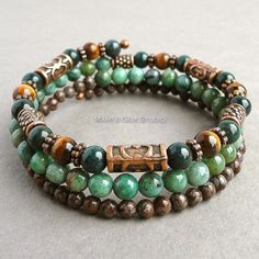 I designed this 3-loop memory wire bracelet for men by combining natural gemstone beads in shades of green and brown - Indian Bloodstone in deep