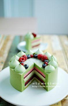 No. 26 크리스마스 케이크~~ 말차 베리 레이어케이크 : 네이버 블로그
