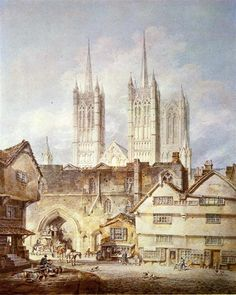 Cathedral Church at Lincoln, 1795 by William Turner. Romanticism. cityscape. British Museum, London, UK