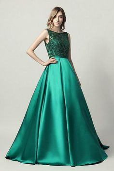 1b53b2a1ca58 Buy MONICE Emerald Green Beaded Ball Gown Formal Dress online at One Honey  Boutique. Pay