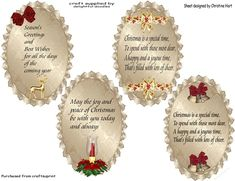 Four assorted verses for cards especially for christmas can also be used as card fronts or inserts