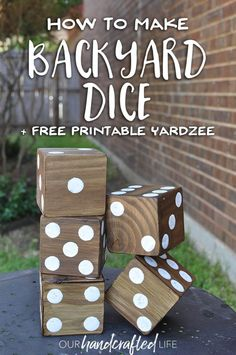 How to Make Giant Yard Dice Free Printable Yardzee! Our Handcrafted Life Wood Crafts Dice Free Giant Handcrafted life printable Yard Yardzee Diy Yard Games, Diy Games, Backyard Games, Backyard Parties, Outdoor Yard Games, Giant Outdoor Games, Diy Backyard Projects, Outdoor Games For Adults, Giant Lawn Games