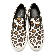 Mother of Pearl Brown & Ivory Leopard Leather Trim Slip-On Sneakers