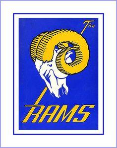 "Retro LA Rams Football Logo Poster, Fan Wall Art Gift, Vintage NFL Sports Bar Art Print, Dad Wall Decor, 8x10"", 8x11"" Free Ship by ArleyArt on Etsy"