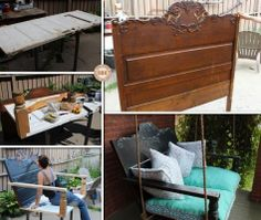 DIY Porch Swing Featuring a Repurposed Headboard! Lane Furniture, Reclaimed Furniture, Diy Furniture Projects, Recycled Furniture, Easy Diy Projects, Furniture Makeover, Balcony Furniture, Old Headboard, Headboard Benches
