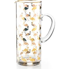 Rosanna Patio Party Glass Flamingo Pitcher (€66) ❤ liked on Polyvore featuring home, kitchen & dining, serveware, drink pitcher, beverage pitcher, glass pitcher, glass serveware and glass drink pitcher
