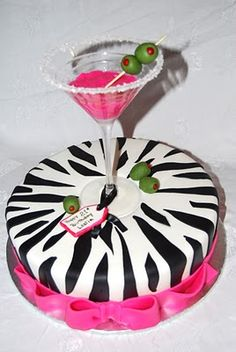 zebra and alcohol cake! My dream cake lol Birthday Cake Martini, Martini Cake, 21st Birthday Cakes, 21 Birthday, Pink Martini, Birthday Ideas, Birthday Cards, Happy Birthday, Pretty Cakes