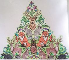 Johanna Basford Enchanted Forest Animal Pyramid Adult Colouring. Coloured by Judy Boechler