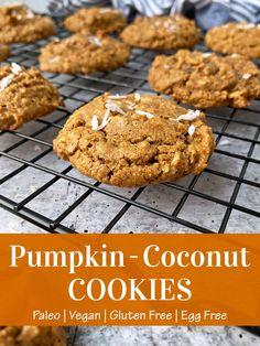 Pumpkin Coconut Recipe, Recipe Using Almond Butter, Paleo Pumpkin Cookies, Paleo Cookie Recipe, Coconut Recipes, Dairy Free Recipes, Dairy Free Cookies, Gf Recipes, Fall Recipes