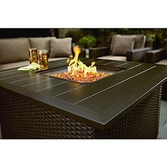 Agio International Moore Haven Woven Square Gas Firepit Table with Fire Glass* Limited Availability 1