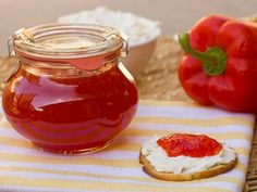 Easy to make sweet red pepper jelly that is great with crackers and cream cheese. Simple canning with instructions for using the Ball FreshTECH Jam and Jelly Maker. Sweet Red Pepper Jelly Recipe, Pepper Jelly Recipes, Hot Pepper Jelly, Jam Recipes, Canning Recipes, Sweet Recipes, Recipies, Savoury Recipes, Easy Restaurant