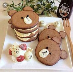 Baby Food Recipes, Dessert Recipes, Food Baby, Kreative Desserts, Pancake Art, Pancake Ideas, Kawaii Dessert, Good Food, Yummy Food