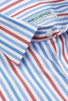 Formal 180 Shirt Bold Blue Red Stripe - - Hawkins and Shepherd Pin Collar Shirt, Collar Shirts, Fabric Yarn, Fabric Material, Formal Shirts, Casual Shirts, Shirt Tucked In, Collar Stays, Shopping