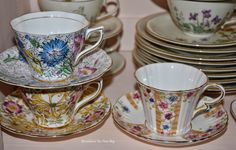 Bernideen's Tea Time Blog~Stacked> 2 from Rosina//1 on the right is Royal Albert Crown China...Carnival