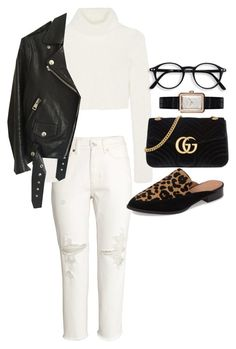 """""""Untitled #22068"""" by florencia95 ❤ liked on Polyvore featuring H&M, Roberto Cavalli, Acne Studios, Halogen, Gucci and Chanel"""