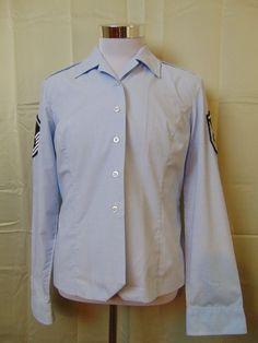 US Air Force Long Sleeve Button Down Sergeant Chevron Shirt Size 16L #356 #AirForce #ButtonDown