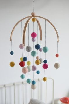 Baby mobile baby mobile feltballs various colour Montessori Pom Pom Mobile, Felt Mobile, Mobile Art, Cool Baby, Pom Pom Crafts, Felt Crafts, Turquoise Rose, Felt Ball, Baby Makes