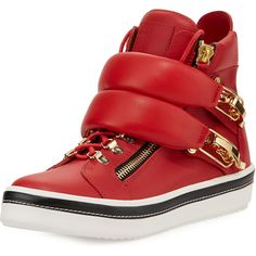 Giuseppe Zanotti Ski-Buckle High-Top Sneaker ($674) ❤ liked on Polyvore featuring men's fashion, men's shoes, men's sneakers, red, mens red high top sneakers, giuseppe zanotti mens sneakers, mens platform shoes, mens lace up shoes and mens platform sneakers