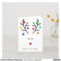 Simple yet striking, these modern holiday whimsical reindeer Christmas cards will be perfect to send out to your family and friends this holiday season. The design is easy to personalize to make them unique to you and your family. Diy Holiday Cards, Simple Christmas Cards, Christmas Paper Crafts, Homemade Christmas Cards, Diy Christmas Gifts, Christmas Decorations, Reindeer Christmas, Easy Christmas Drawings, Whimsical Christmas
