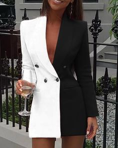 New party dress long sleeve V-neck Colorblock Patchwork Blazer Dress f – menstights Trend Fashion, Suit Fashion, Fashion Dresses, Womens Fashion, Blazer Fashion, Emo Fashion, Style Fashion, Latest Fashion, Suits For Women