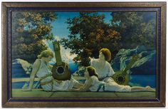 """Lot 718: Maxfield Parrish (American, 1870-1966) """"Lute Players"""" Print; Undated, depicting three females with two instruments and mountains in the background"""