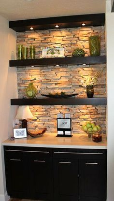 **turn nook in basement into trendy basement bar? add mini fridge into cabinetry and you're golden** Typically I don't like the open shelving look in a kitchen, but I really like this with the stone backlay and the under-shelf lighting. Under Shelf Lighting, Task Lighting, Shelves Lighting, Floating Shelves With Lights, Basement Lighting, Floating Stairs, Cabinet Lighting, Living Room Recessed Lighting, Livingroom Lighting Ideas