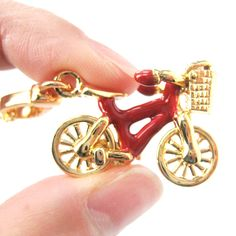 Detailed Bicycle With Basket Pendant Necklace in Red and Gold   Limited Edition Jewelry