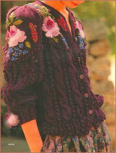 MEINE-WOLLUST: Trachtenjacke mit Stickerei Form Crochet, Knit Crochet, Sweater Knitting Patterns, Hand Knitting, Spieth Und Wensky, Folklore, Bohemian Chic Fashion, Dress Making Patterns, Funky Outfits