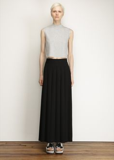 Nomia Smooth Pleated Maxi Skirt (Black)