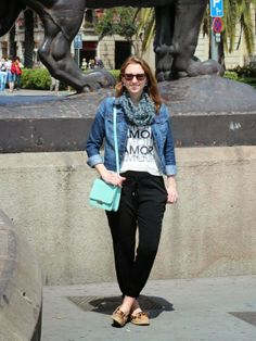 See What Katie Wears: Sunny Barcelona!  Drapey Old Navy pants, J. Crew tee, scarf, jean jacket, Sperry Top-Siders
