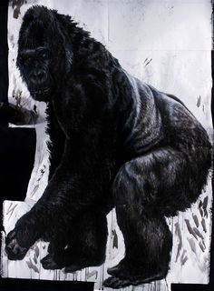 "Silverback  60"" x 46""  ink, acrylic paint, conte, and charcoal on paper.  I never got ballsy enough to wheat paste this bad boy up. If I had, then it would've been my ""Guerrilla""  Emily White 2010"