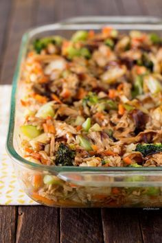 This Teriyaki Chicken and Rice Casserole is delicious, filling and healthy with mixed vegetables, brown rice and a thick teriyaki sauce - just 321 calories or 7 Weight Watchers PointsPlus! www.emilybites.com