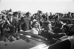At Love Field, Dallas, the Kennedys and the Connallys in the limousine for the Dallas motorcade