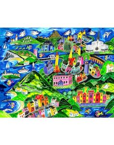 """What better way to celebrate our beautiful West Coast than with a quirky limited edition abstract art print from Simone Walsh.  This one depicts the areas from Westport to Foxford in Co. Mayo.   Each print is individually titled, signed and numbered by Simone in her County Wexford studio. Prices start at 15 euros up to 185 euro for a 20"""" x 26"""" framed print. Country Scenes, Framed Prints, Art Prints, Online Gifts, Prints For Sale, West Coast, Euro, Irish, Abstract Art"""