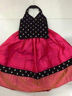 Trendy Black Top and Dark Pink Lahenga For Baby Girls