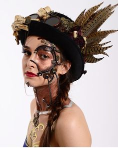A guide to Steampunk fashion: costume tutorials, Steampunk clothing guide, cosplay photo gallery, updated calendar of Steampunk events, and more. Steampunk Make Up, Steampunk Robots, Steampunk Design, Steampunk Cosplay, Steampunk Accessories, Steampunk Clothing, Steampunk Fashion, Robot Makeup, Mask Makeup