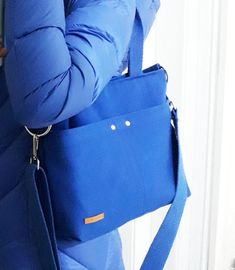 KAN02- Blue Canvas, Messenger Bag, Metal Zipper, Removable Shoulder Strap, Handmade Bag, Canvas Bag,  Shoulder Shopper Bag