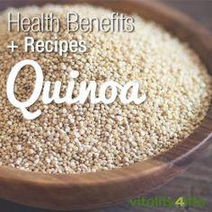 Unlock the powerful benefits of Quinoa - the protein-rich ancient seed. Quinoa benefits, quinoa recipes including quinoa salad, quinoa porridge & more... #quinoa #superfoods #vitality4life