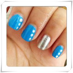 """Simple nail art ~OPI """"no room for the blues"""""""