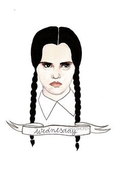 Wednesday Addams watercolour portrait PRINT The by ohgoshCindy, £9.00