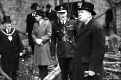 Winston Churchill visiting bomb sites in Manchester in 1941
