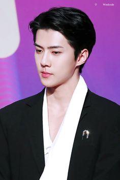 Sehun - 171201 2017 Mnet Asian Music Awards in Hong Kong, red carpet Credit: Windyside. Foto Sehun Exo, Kai Exo, Kyungsoo, Chanyeol, Exo Official, Celebrity List, Mnet Asian Music Awards, Wattpad, Celebrities