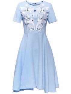 Shop Blue Applique Pouf Beading A-Line Dress online. SheIn offers Blue Applique…