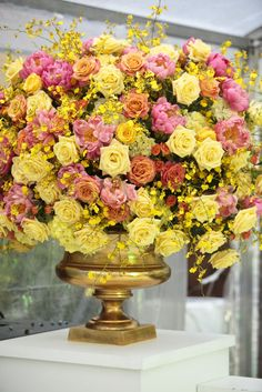 Kathy's 50th birthday at DEC in Dallas, Texas on May 23rd, 2015. Party design and floral by Jackson Durham #jacksondurham #gold #yellowfloral #pink #orange