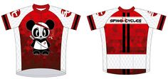 Custom designed cycling jersey from Spinn Cycles.