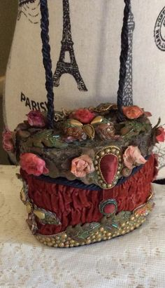 Fabulous! Mary Frances Ruffled Velvet Floral Themed Handbag Purse! #MaryFrances #EveningBag
