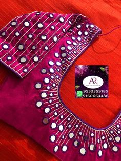 Latest mirror work blouse design - The handmade craft Mirror Work Blouse Design, Mirror Work Saree Blouse, Embroidery Neck Designs, Embroidery Saree, Wedding Saree Blouse Designs, Maggam Work Designs, Simple Blouse Designs, Designer Blouse Patterns, Blouse Neck