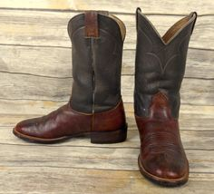 8f7a2fda163c Nocona Cowboy Boots Two Tone Brown Leather Mens Size 9.5 D Country Western  Shoes  Nocona