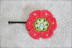 Crochet Daisy Flower Hair Pin Pink by CatWomanCrafts on Etsy, $6.00